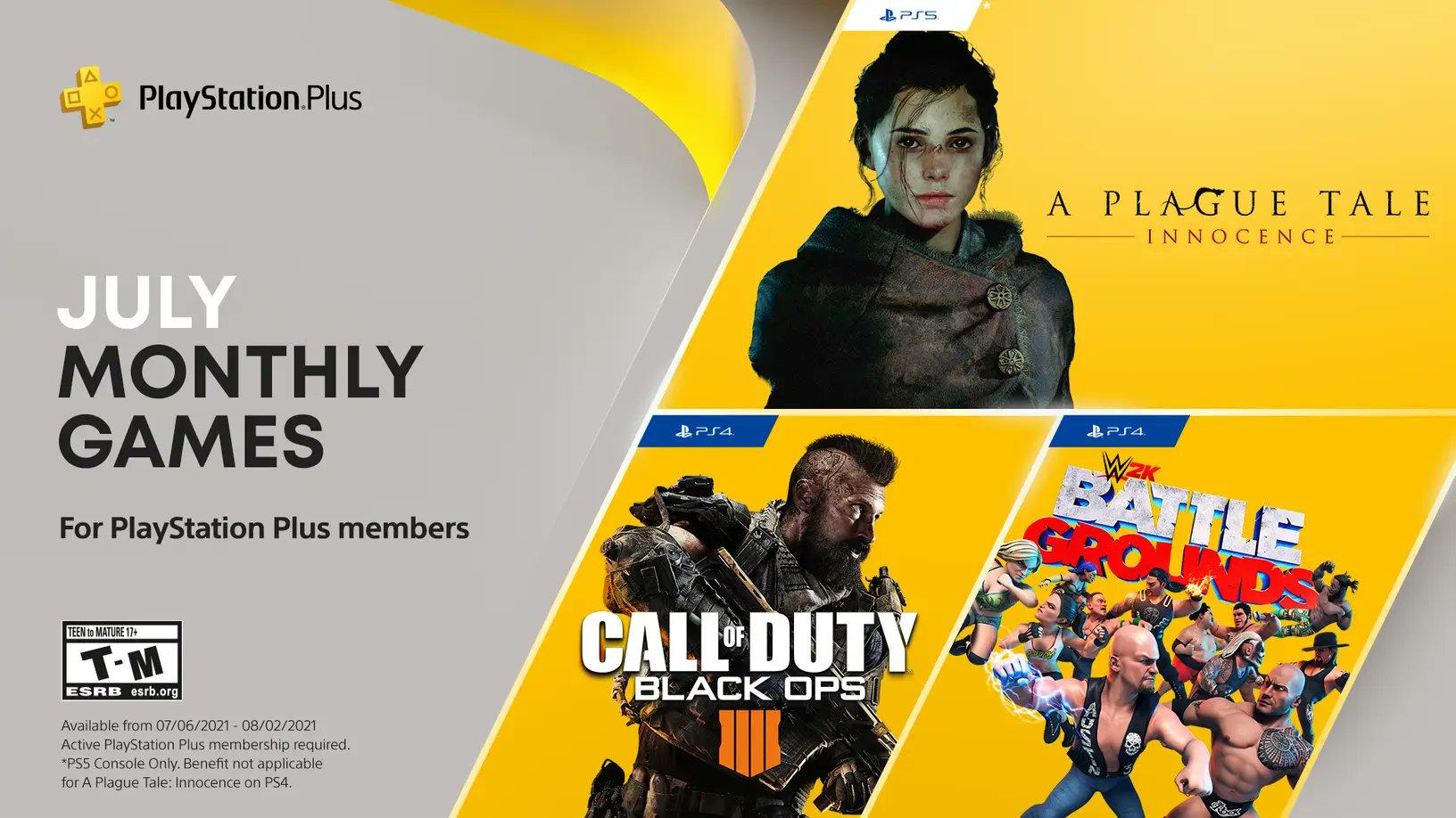 PS Plus de julho tem A Plague Tale, CoD Black Ops 4 e WWE 2K